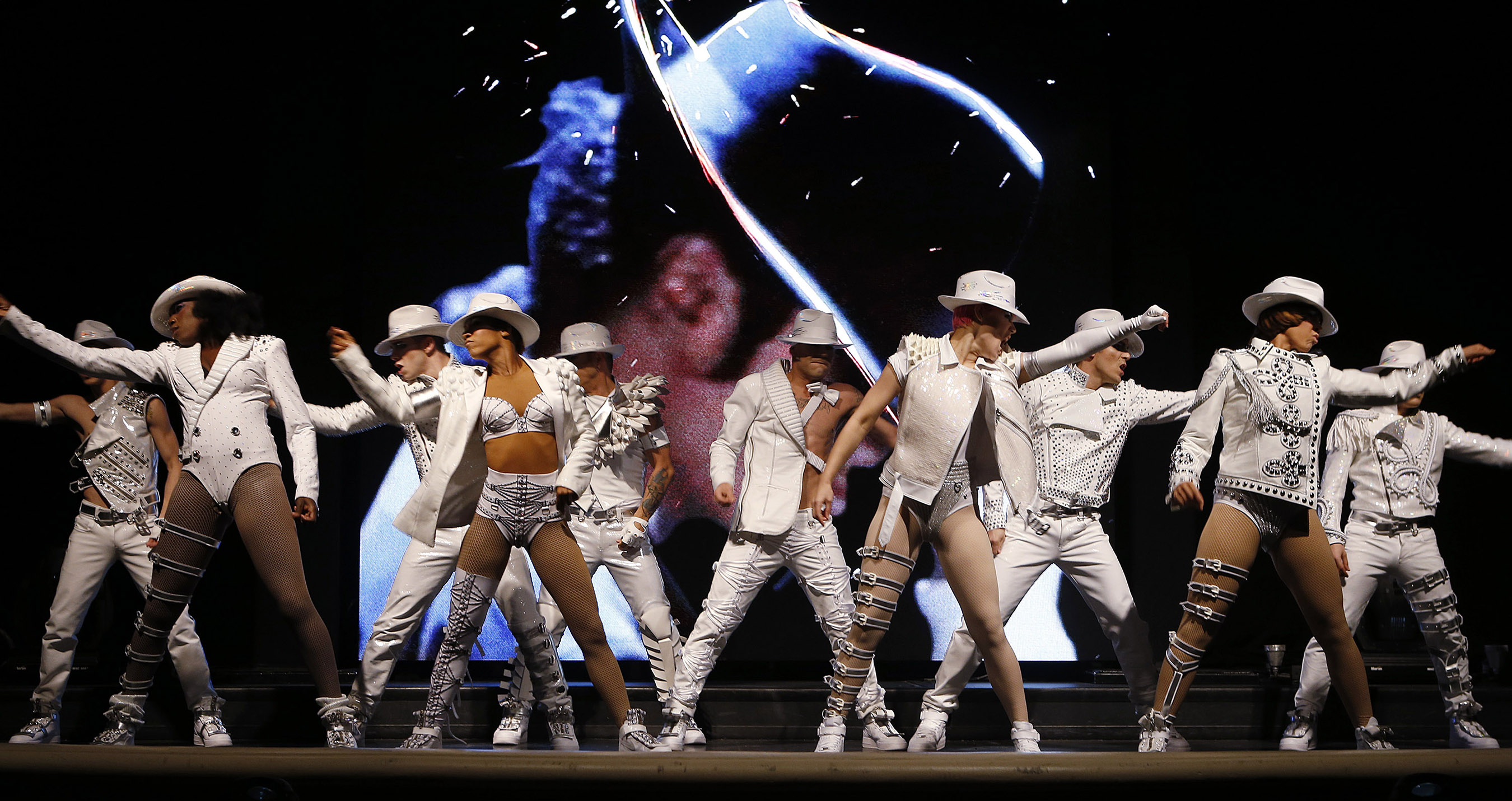 Cast of Michael Jackson ONE by Cirque du Soleil unveils show visual at Mandalay Bay. PHOTO CREDIT: Isaac Brekken/Getty Images
