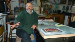Silvio de la Cruz en su estudio en el Clemente Soto Vélez en Nueva York (Foto Nueva York Digital)