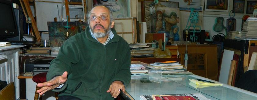 SIlvio de la Cruz en su estudio (Foto Nueva York Digital)